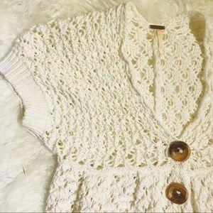 {Free People} Ivory Open Knit Cardigan